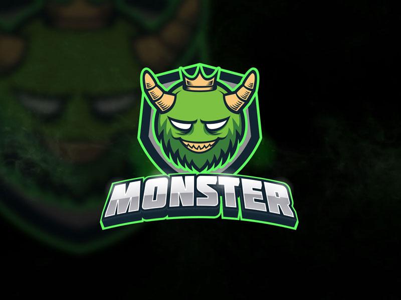 Green Monster - Mascot & Esport Logo gamer gaming character crown teeth horns vector template mascot team sport esport emblem furry king illustration logo devil monster green