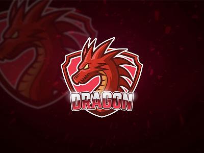 Red Dragon Esport Logo character design illustration team mascot shield sport esport monster edit emblem template dragon red