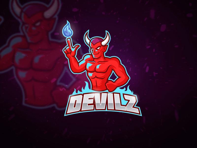 Red Devil Esport Logo illustration horns cartoon mascot fire muscle evil flame sport logo esport red devil