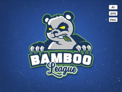 Angry Panda Logo Template chew mad angry china nature bear animal wild mascot logo sport esport team bamboo panda