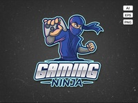 Gaming ninja logo template preview