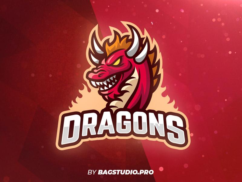Red Dragon Esport Logo Template horns mascot illustration esport fire vector editable badge logo dragon red
