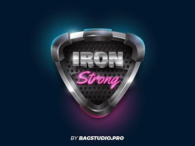 Realistic Vector Metal Badge shiny metallic chrome emblem shield design retro iron illustrator 3d vector logo badge