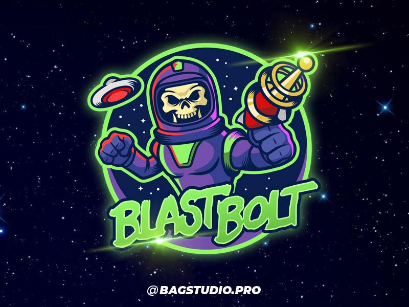 Blast Bolt Logo illustrator space age retro astronaut ufo vintage sci fi branding mascot logo design logo skull space