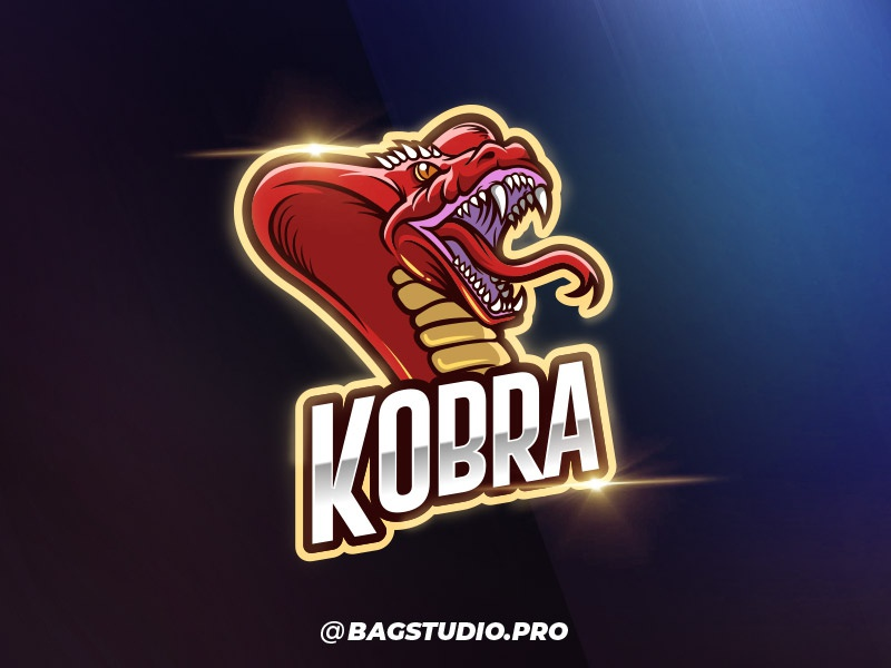 Cobra Logo Vector Esport Template gamer mascot esport team sport snake reptile poison logo emblem cobra badge