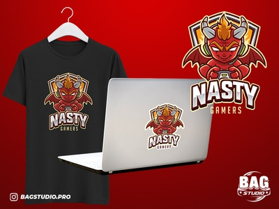Little Red Devil Gamer Esport Logo Template