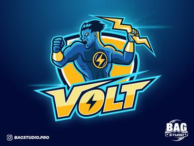 Volt esport logo volt cartoon illustrator sport thunder lightning gamer mascot logodesign esport