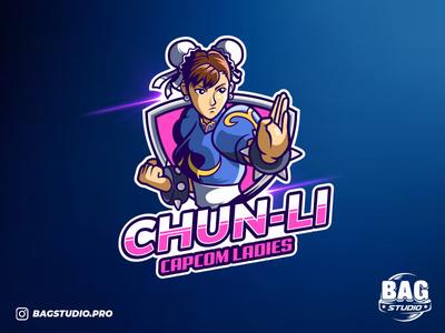 Chun-Li esport logo badges vector mascot characterdesign esports logo gaming fanart capcom streetfighter illustrator logo esports