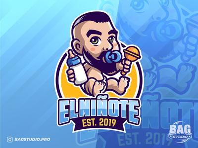 El Niñote bearded baby mascot logo caricature beard cute character esport cartoon mascot branding logo baby