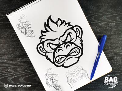 Angry Monkey Esport Logo Sketch wip illustration drawing sketch character cartoon mascot logo esport monkey