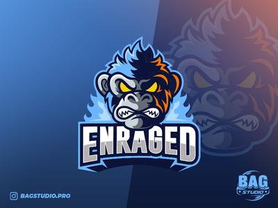 Angry Monkey Esport Logo team character illustrator logodesign sport ape furious enraged monkey esport logo