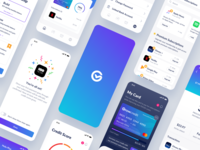 Grow Credit App Design user experience user interface mobile app mobile financial app financial components design system ui kit simple colorful modern app design clean ios app app theme interface ux ui