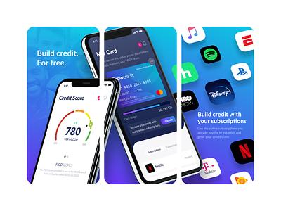 Grow Credit App Store Screenshots interface modern ux ui gradient colorful credit card card creative clean marketing subscriptions ios app ios appstore app screens credit score