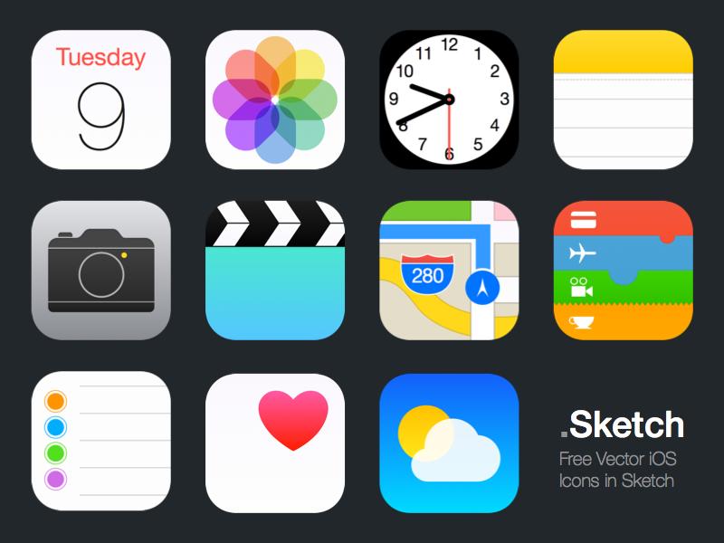 Vector iOS Icons (.Sketch) sketch freebie resources ios iphone iphone 6 apps icons vector free ios 8