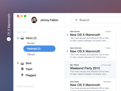 OS X Mammoth os concept modern clean ui interface apple mail browser messages maps notification