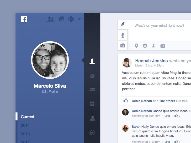 Facebook 2.0 facebook redesign modern flat clean web web design ui interface ux product concept