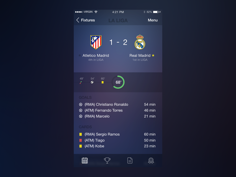 TheScore Redesign soccer futball thescore redesign app ios8 apple iphone sports score