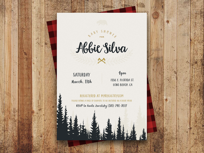 Baby Shower Invite invite design typography invitation layout card outdoors nature camping camp rustic invite baby shower