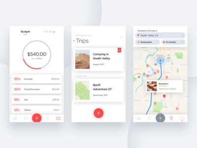 Road Trippin' App interface ui ux slick modern road trip product design product ios apps app design app