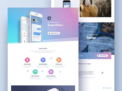 Superfan Website Design colors icons mobile app graphic design user interface lander landing landing page web design web website