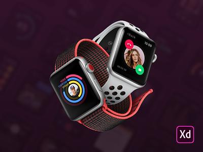 Smartwatch UI Kit for Adobe XD adobe xd download freebie kit mockup resource free ui kit ui apple apple watch smartwatch