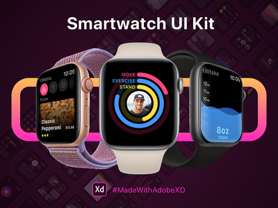Smartwatch UI Kit ui clean design colors apps interface mockup screens ux resources free adobexd adobe smartwatch watch ui kit kit