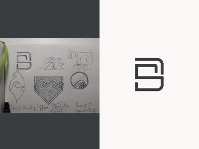 SD monogram wave sketch