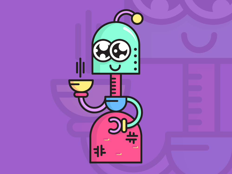 nice bot cleaning women people rounded geometric basic ouline doodle technology cartoon colorful art design icon character vector robot