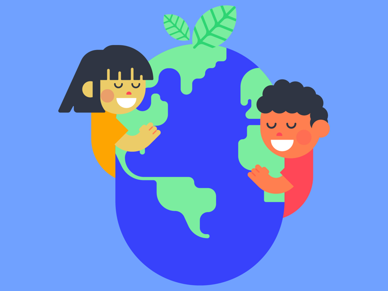 Hug the earth adobe illustrator flat design cartoon cartooning kids vector design funny fun art colorful flat color blue flat illustration day earth