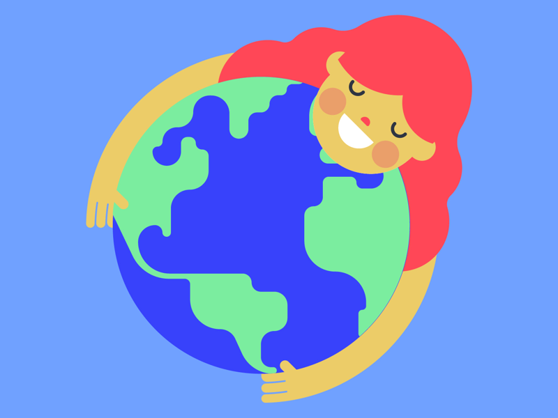 hug the earth healthy green planet nature holiday adobe illustrator flat color colorful flat hug design vector illustration art mother earth