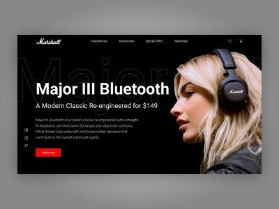 Marshall Headphones Hero Section webdesign ux hero section headphones landing page ui