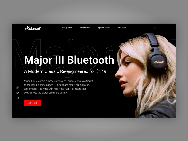 Marshall Headphones Hero Section webdesign ux hero section headphones landing page ui