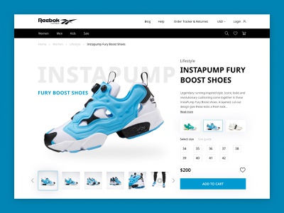 Online Store design concept for Reebok Footwear shoes running shoes reebok training wellness health footwear sport web webdesign hero section ux ui e-commerce