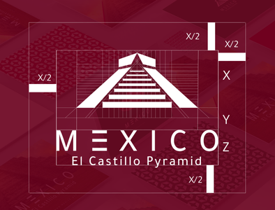 Mexico ( EL Castillo pyramid ) logo illustrator branding design branding brand and identity