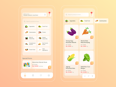 Grocery App - Ecommerce marketplace app home grocery vegetable fruits salad ui