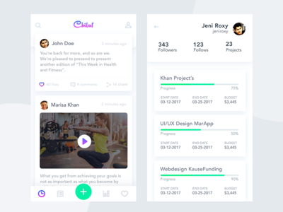 Chiluff - Social Network feed profile timeline app dashboard material design material ui ui mobile app