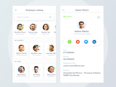 Employee Lookup material design clean mobile app uiux portfolio management profile search lookup employee contact