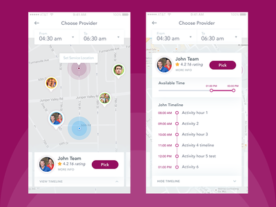 Selecting Provider pick up pick booking select time timeline delivery map