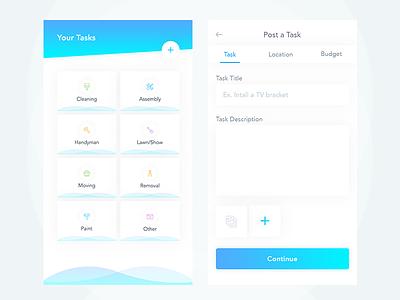 Create Tasks  company ux ui app mobile grid list task create