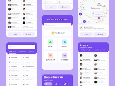 Way Finding Building Kiosk mobile app ux ui direction store list map way finding building mobile