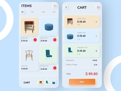 Skeuomorphic e-commerce cart and product gallery page