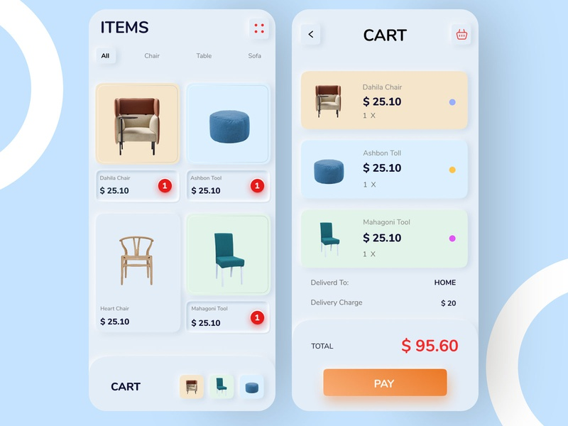 Skeuomorphic e-commerce cart and product gallery page skeuomorphic skeumorphism trending trend2019 ecommerce design ecommerce shop furniture store furniture app ecommerce ux ui design ui