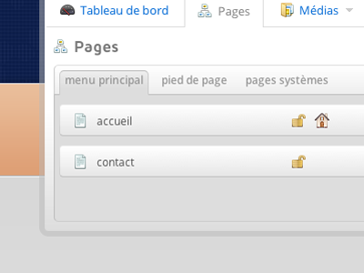 CMS Admin : pages cms admin ui