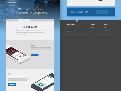 Overture ui flat responsive landing page frontend theme bootstrap