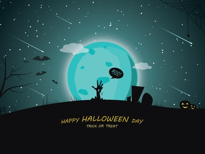 Trick or treat vector trick-or-treat skyline sky pumpkins moon illustraion illustrator horror art halloween party halloween dribbble design bats art