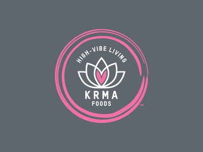 KRMA Foods brand identity food and drink flower heart lotus zen karma typography vector work illustrator logotype creative direction art direction logo branding identity