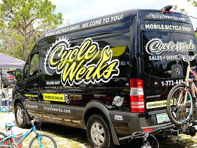 CycleWerks identity  bikes black yellow bicycle cycling bike shop branding irl logo identity