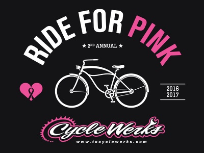 Ride For Pink illustration typography t-shirt design breast cancer non-profit charity