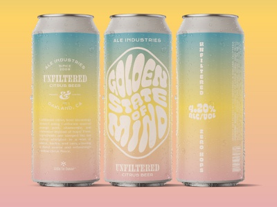 Golden State of Mind colorful typography funky graphic design design beer can beer gradient psychedelic label label design beer label design beer label can label design