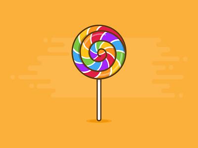 Lollipop flat illustration design sweets sweet food candy rainbow lollipop icon